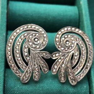 Sterling silver Marcasite screw back earrings vint